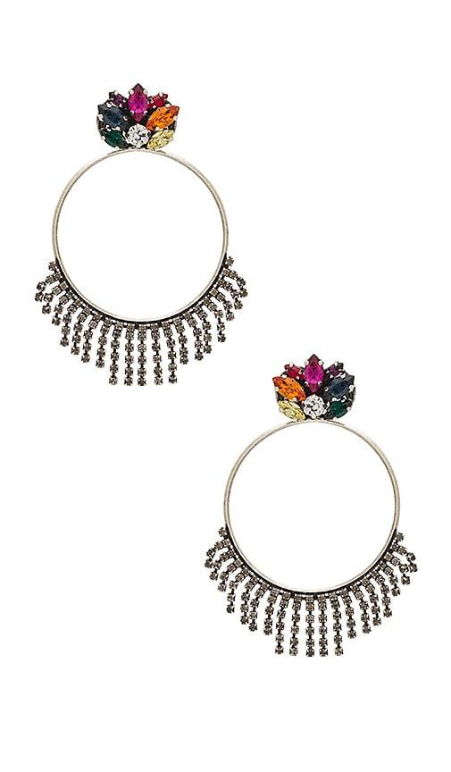 Anton Heunis Crystal Cluster Hoop Earring in Metallic Silver