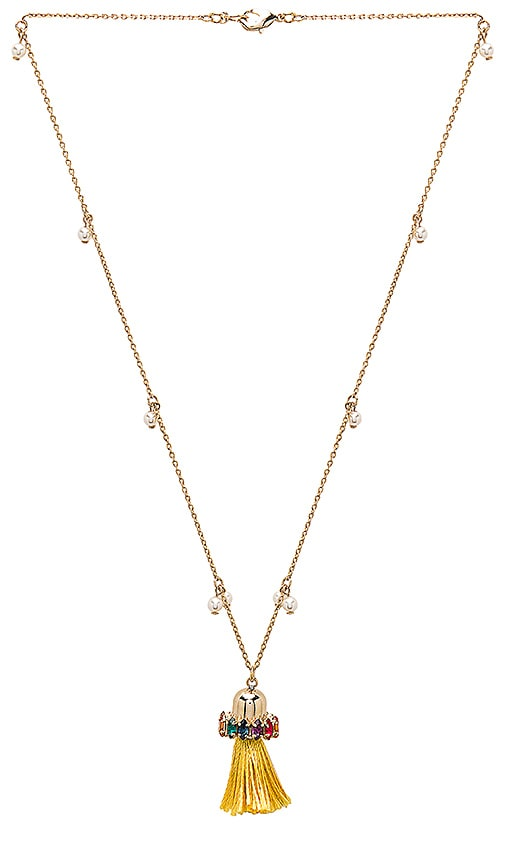 Anton Heunis Tassel Pendant Necklace in Metallic Gold