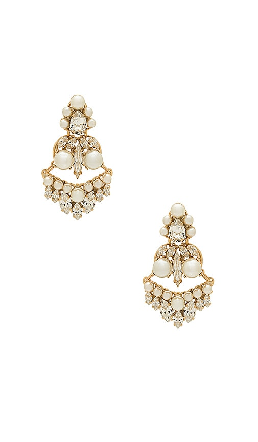 Anton Heunis Amazonia Pearl and Crystal Earring in Metallic Gold
