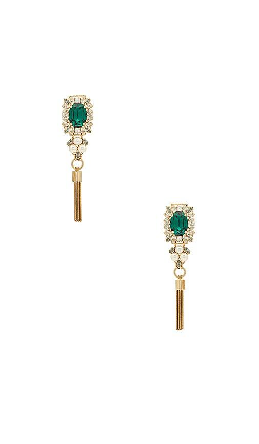 Anton Heunis Crystal & Pearl Tassel Earring in Green