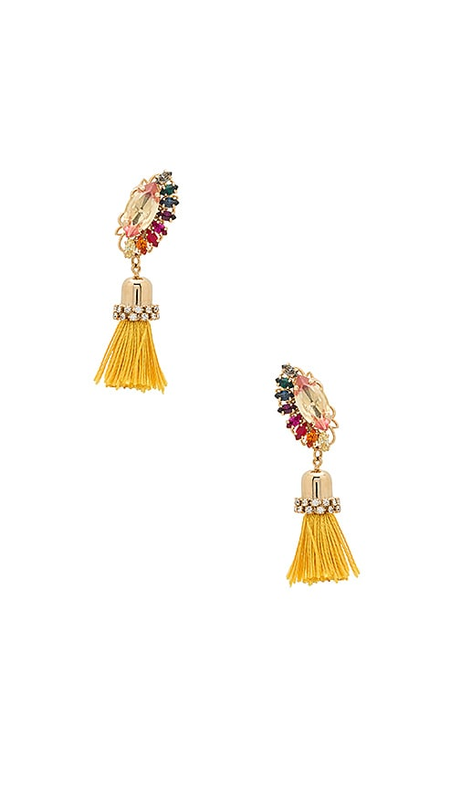 Anton Heunis Crystal Cluster Drop Tassel Earring in Metallic Gold