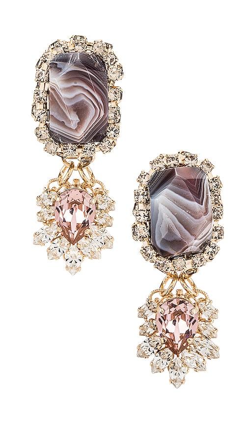 Agate Strass Fringe Pendant Earring by Anton Heunis