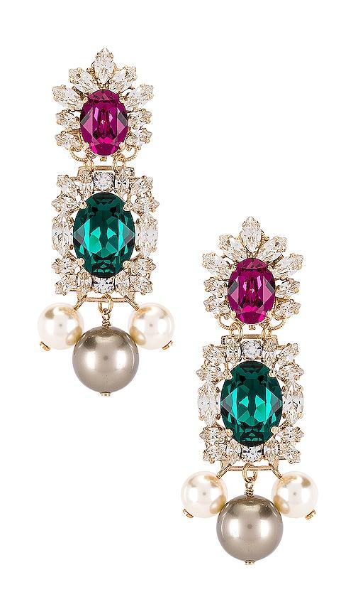 Crystal Cluster & Pearl Pendant Earring
