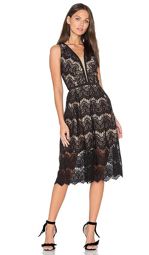 aijek Loyola Lace Midi Dress in Black