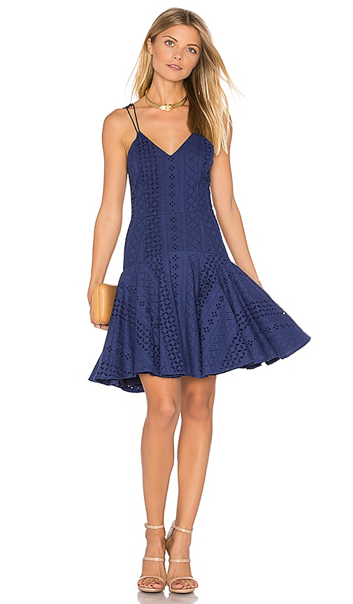 aijek Janet Broderie Cross Back Dress in Blue