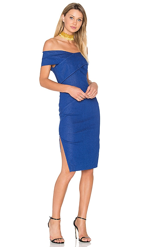 aijek Sanity Off The Shoulder Dress in Blue
