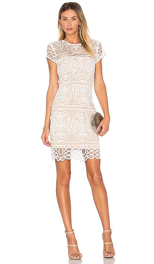 aijek Blackjack Embroidered Mini Dress in White