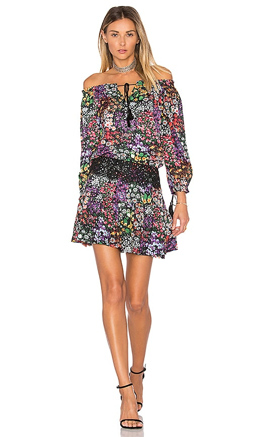 aijek Ethel Printed Off Shoulder Mini Dress in Black