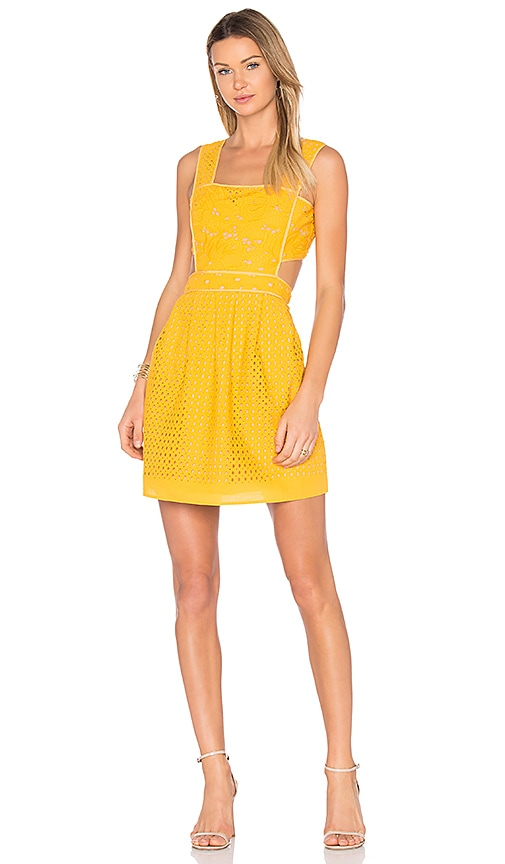 aijek Ann Broderie Pinafore Dress in Yellow