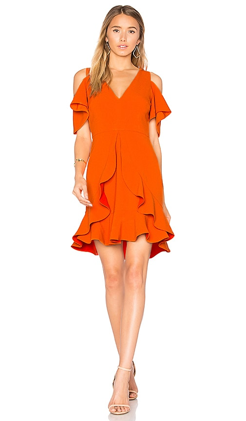 aijek Nicola Cold Shoulder Dress in Orange