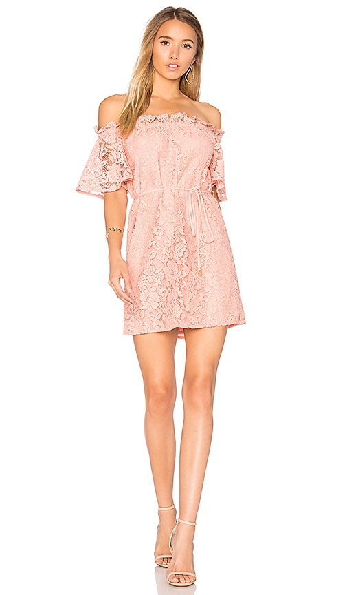 aijek Padova Off Shoulder Dress in Coral