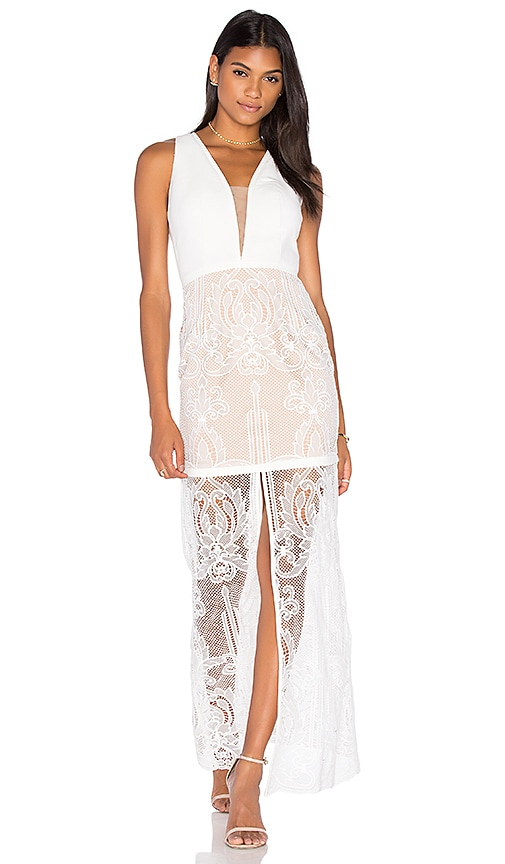 aijek Tatiana Embroidered Maxi Dress in White