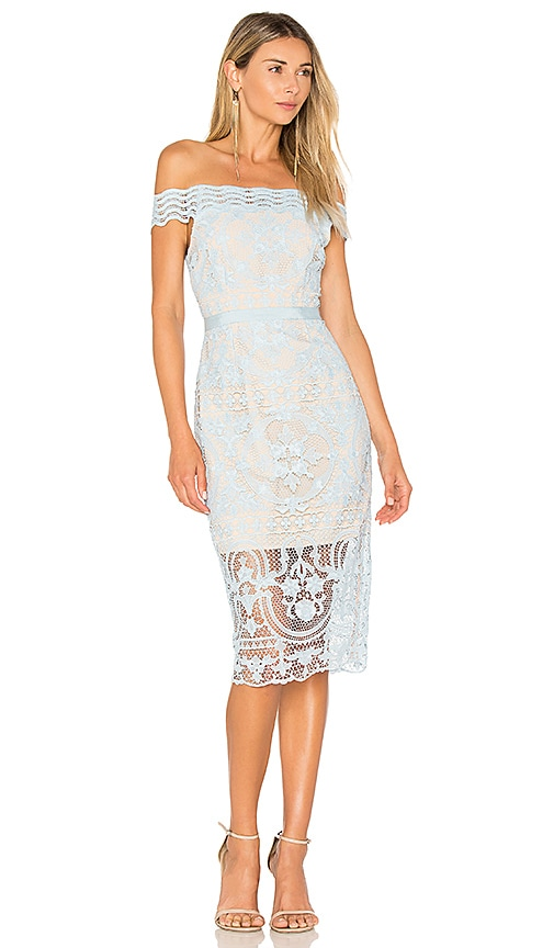 aijek Padua Off Shoulder Dress in Baby Blue