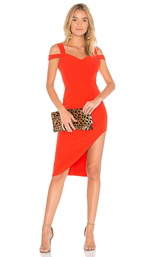 aijek Valencia Cold Shoulder Dress in Red