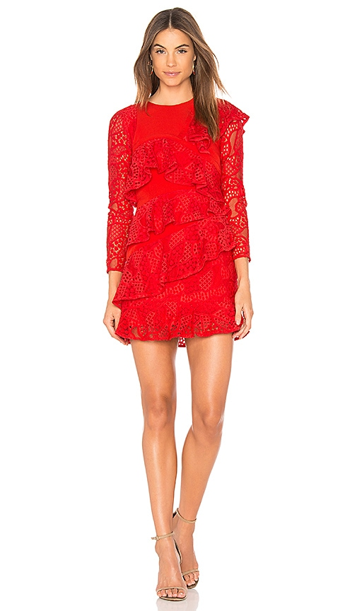 aijek Mae Ruffled Lace Dress in Red