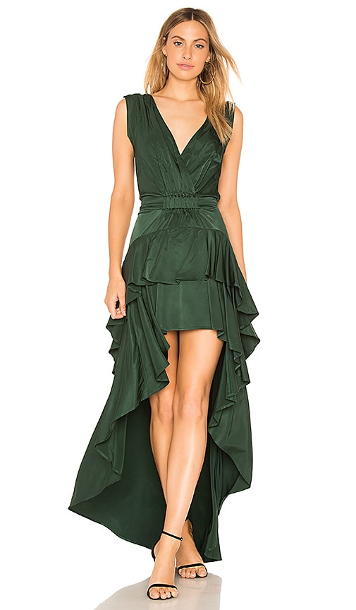 aijek Madelyn Drape Maxi Dress in Green