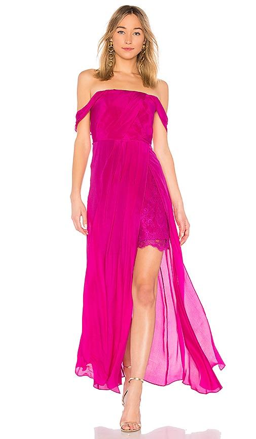 aijek Arabella Off The Shoulder Maxi Dress in Fuchsia