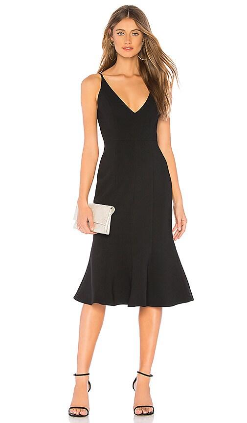 Aijek Camille Bonded Fit Flare Dress In Black Revolve