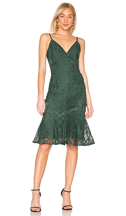 9f1735792ba4 aijek Love Is Embroidered Fit Flare Dress in Green | REVOLVE