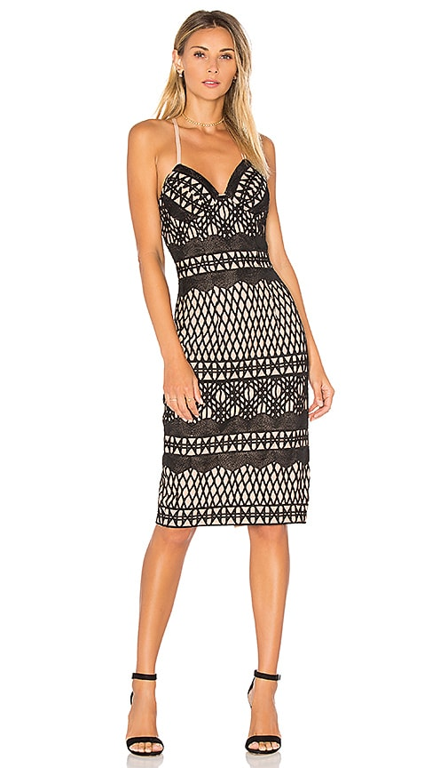 aijek Caroline Embroidered Pencil Dress in Black
