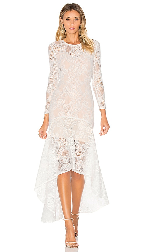 aijek Galella Lace Asymmetric Maxi Dress in White