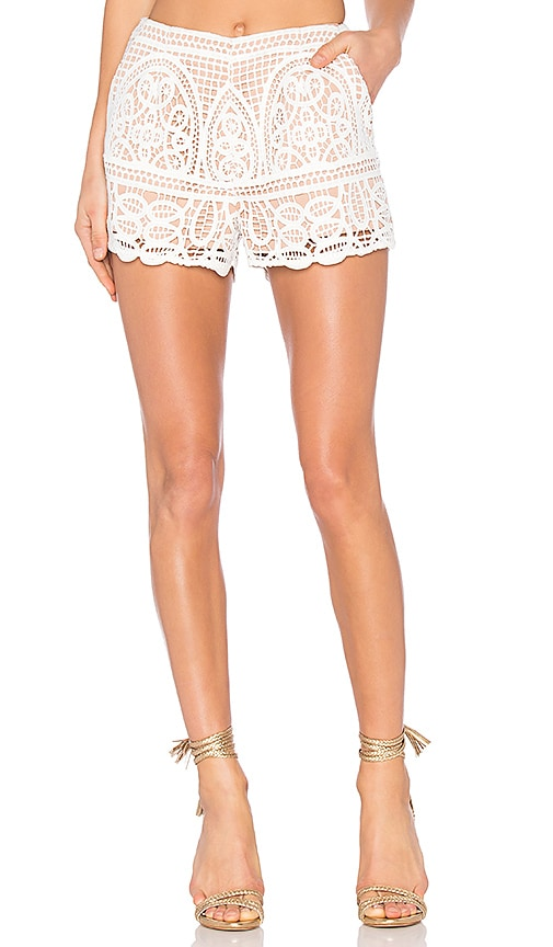 aijek Blackjack Embroidered Shorts in White