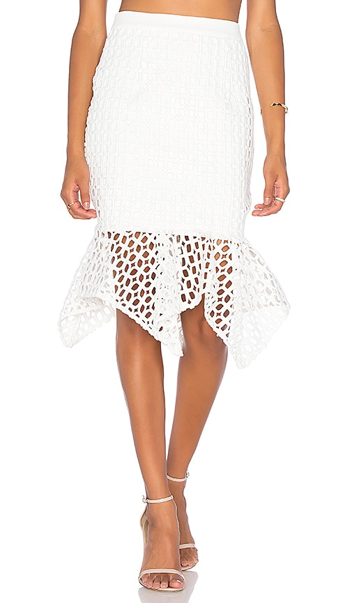 aijek Doubleday Embroidered Handkerchief Skirt in White