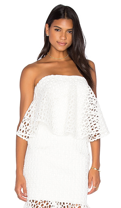 aijek Doubleday Embroidered Bustier Top in White