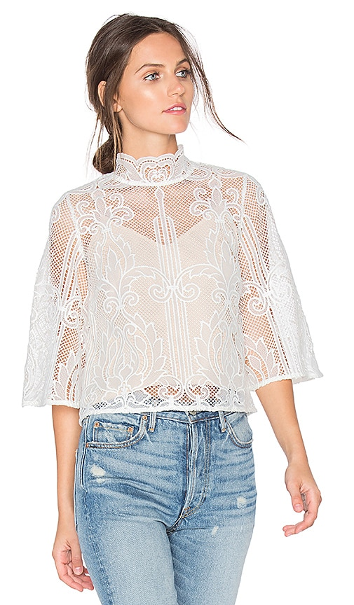 aijek Tatiana Embroidered Blouse in White