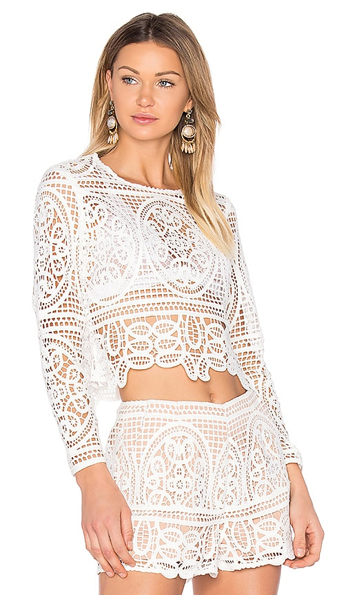 Blackjack Embroidered Cropped Blouse