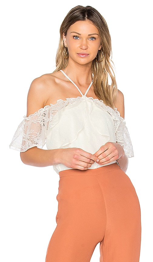aijek Andrea Cold Shoulder Top in White