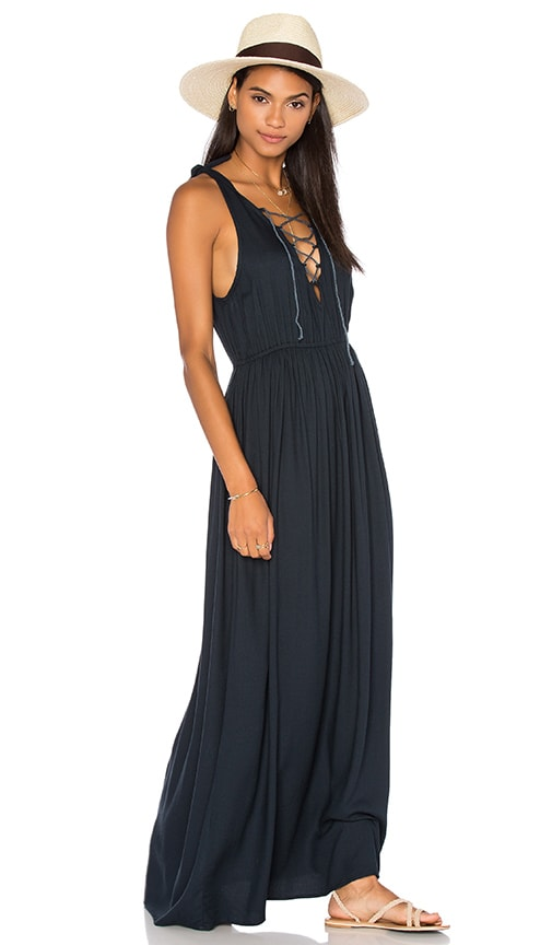 Aila Blue Edge Lace Up Maxi Dress in Blue