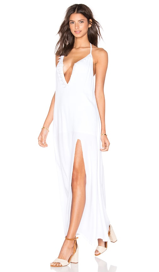 Aila Blue Nunu Halter Maxi Dress in White