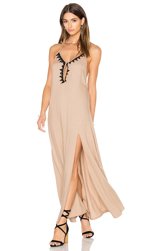 Aila Blue Jelita Halter Maxi Dress in Taupe