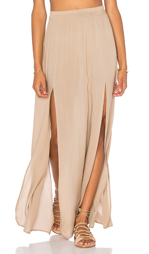 Aila Blue Pupukea Maxi Skirt in Tan