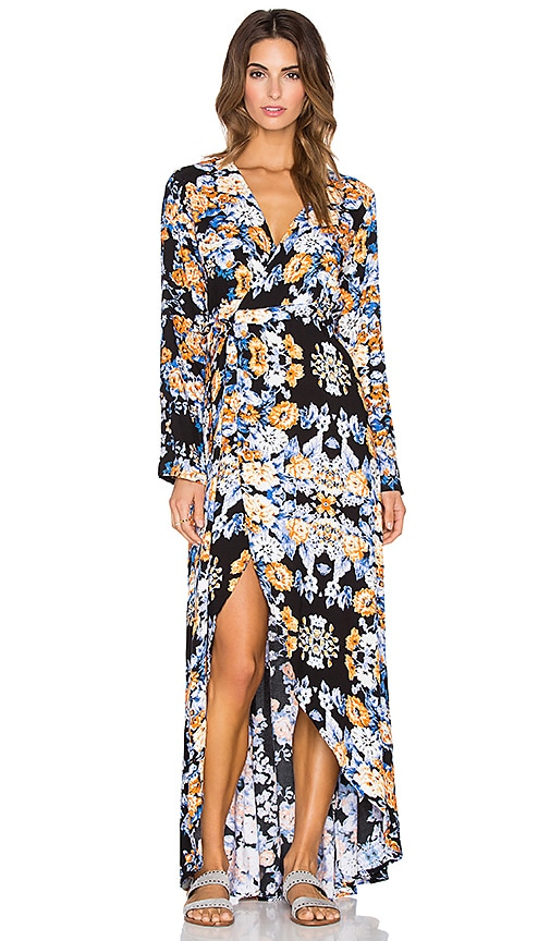 Aila Blue Bella Wrap Maxi Dress in Black