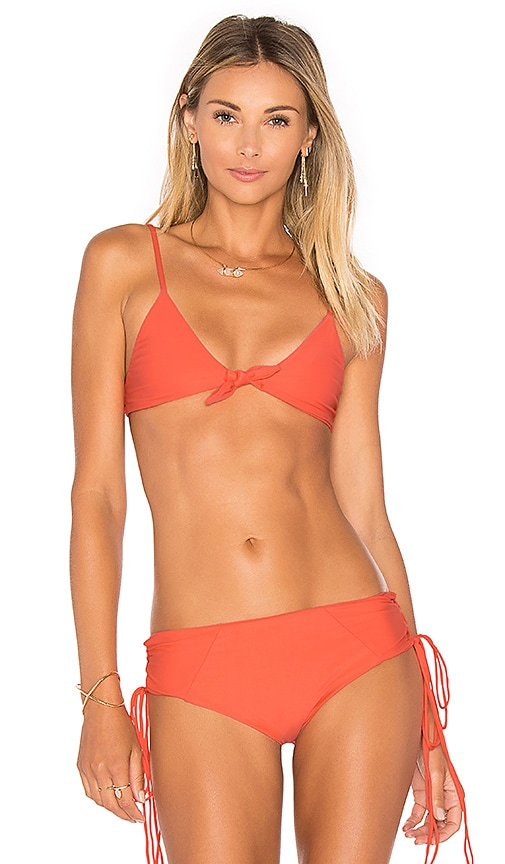 Aila Blue Cathedral Tie Front bikini Top in Coral