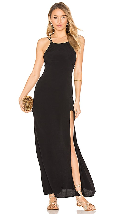 Aila Blue Arrow Maxi Dress in Black