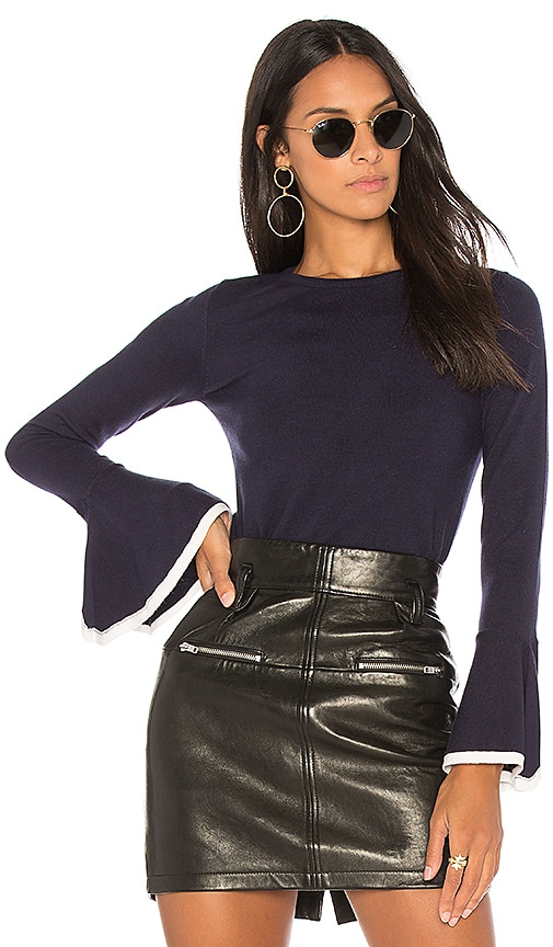 AIRLIE Victoria Bell Sleeve Knit Top in Navy