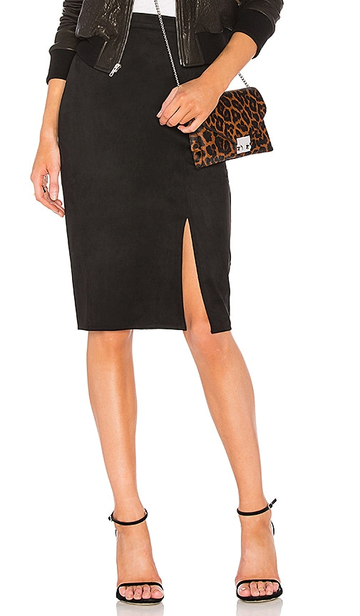 AIRLIE Abbey Suede Pencil Skirt in Black