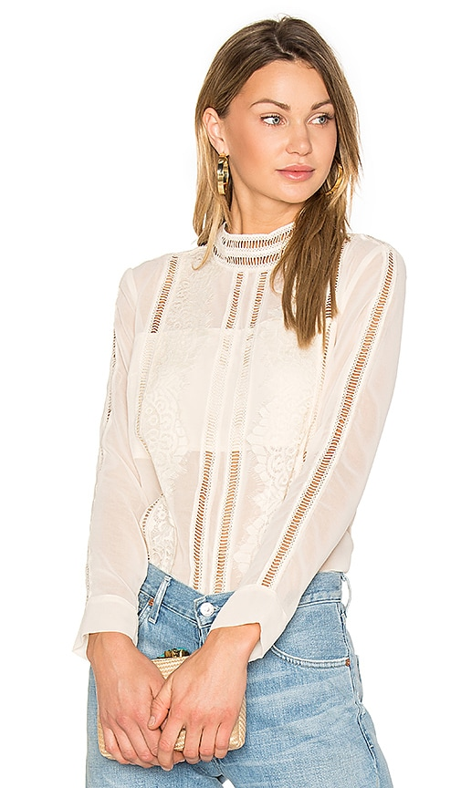 AIRLIE Kamille Lace Shirt in Beige