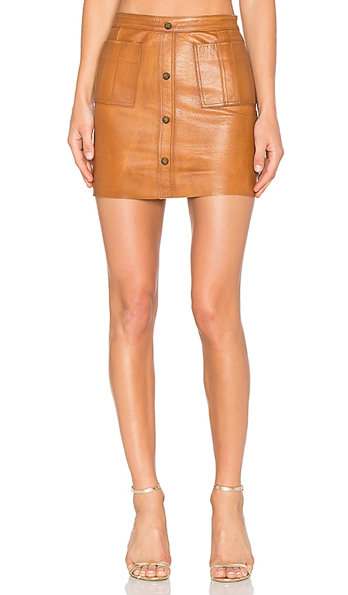 Aje Shrimpton Leather Mini Skirt in Tan | REVOLVE