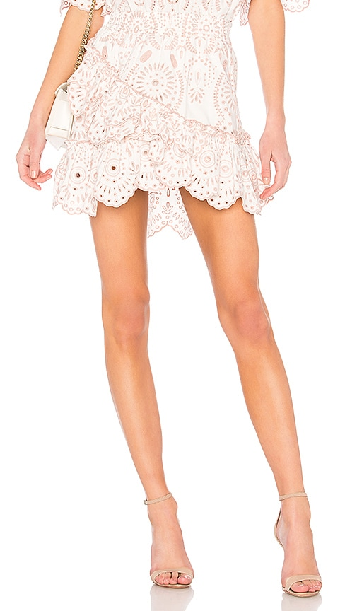8ef08de8ed Aje Myall Ruffle Skirt in White & Musk Embroidered | REVOLVE