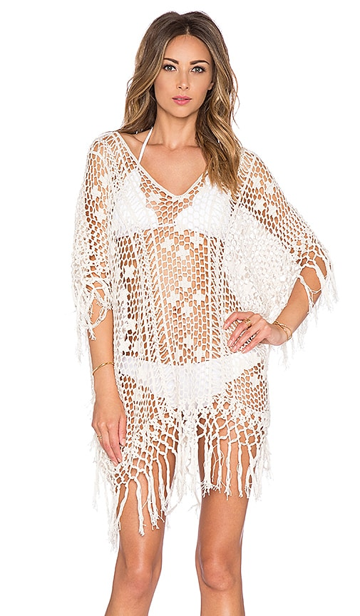 Anna Kosturova Tassel Long Poncho in Cream