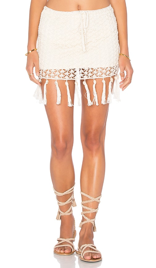 Anna Kosturova Fringe Shell Skirt in Cream