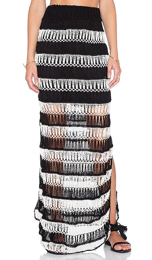 Anna Kosturova Bardot Maxi Skirt in Black & Cream