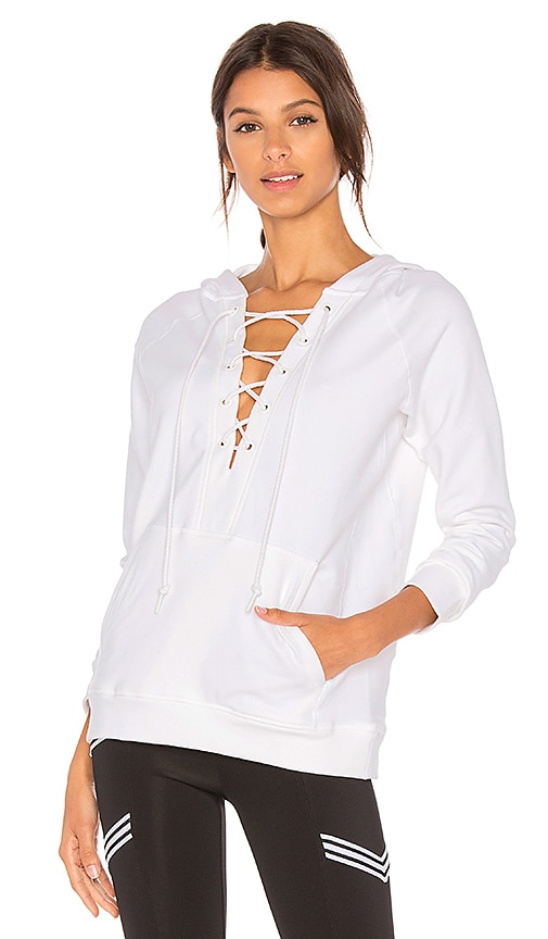 ALALA Lace Up Hoodie in White