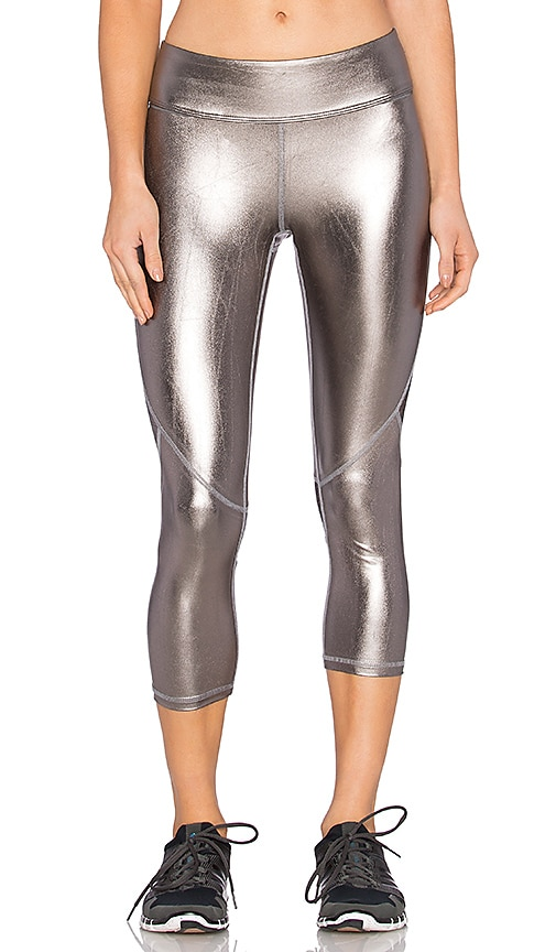 ALALA Crop Tight Legging in Metallic Silver