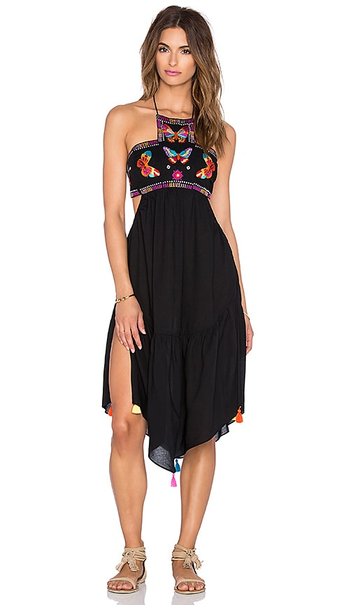 ale by alessandra Butterfly Embroidered Dress in Black