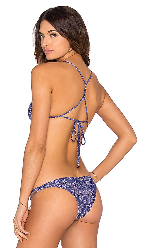 ale by alessandra Blanket Stitch Triangle Bikini Top in Henna Blues